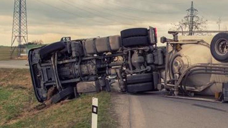 A truck lying on its side after an accident.