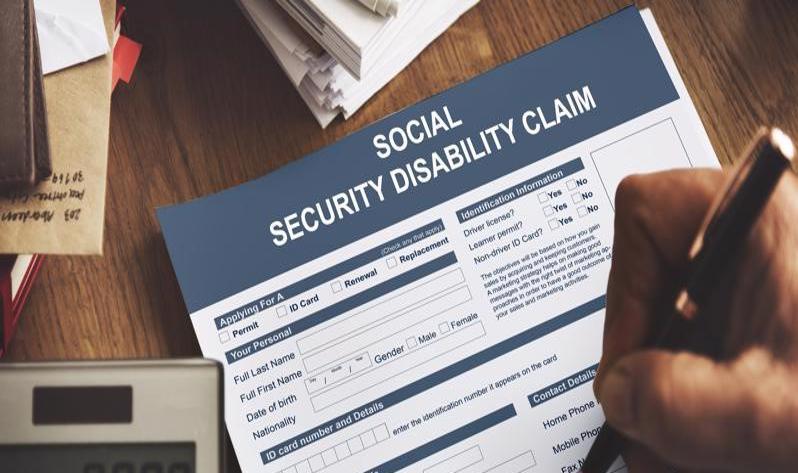 A social security disability claim form.
