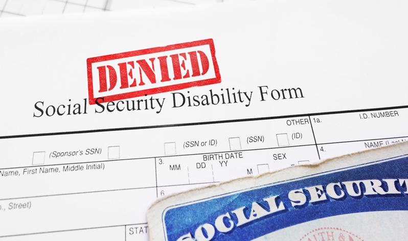 A denied SSDI form.