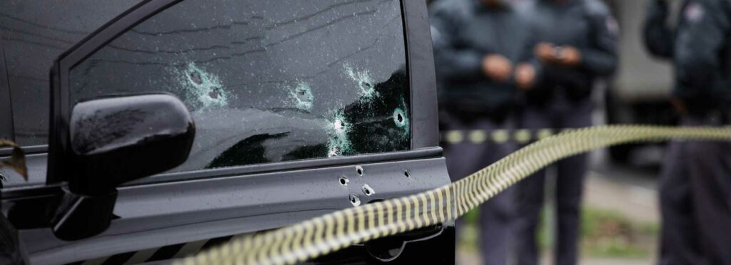 Picture of a car with gun holes