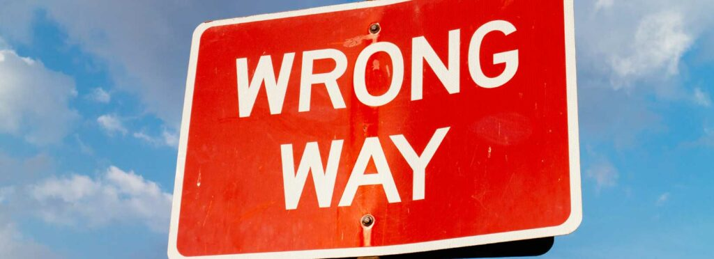 Picture of a wrong way sign
